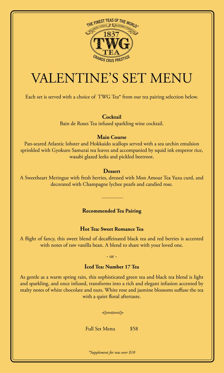 Valentine's Set Menu TWG Tea