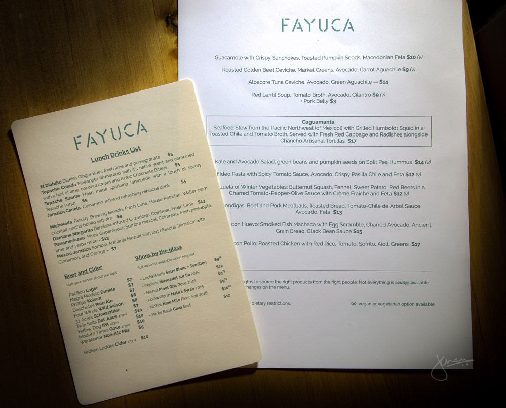 Fayuca Lunch Menu
