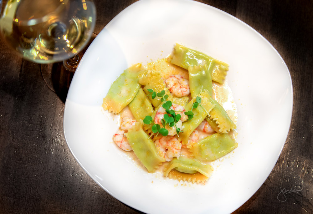 Piedmont | Pea and Ricotta Agnolotti, Side Stripe Shrimp, Lemon Butter Sauce, Bottarga Wine Pairing: Marchesi di Gresy Sauvignon Blanc