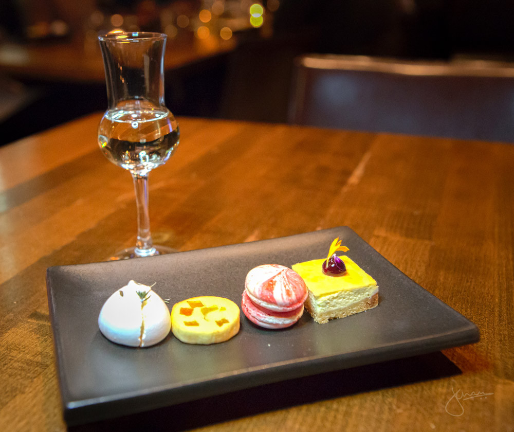 Dolce | Lemon Curd Stuffed Meringue, Apricot Biscotti, Raspberry and Rose Water Macaron, Sour Cherry Gorgonzola Cheesecake
