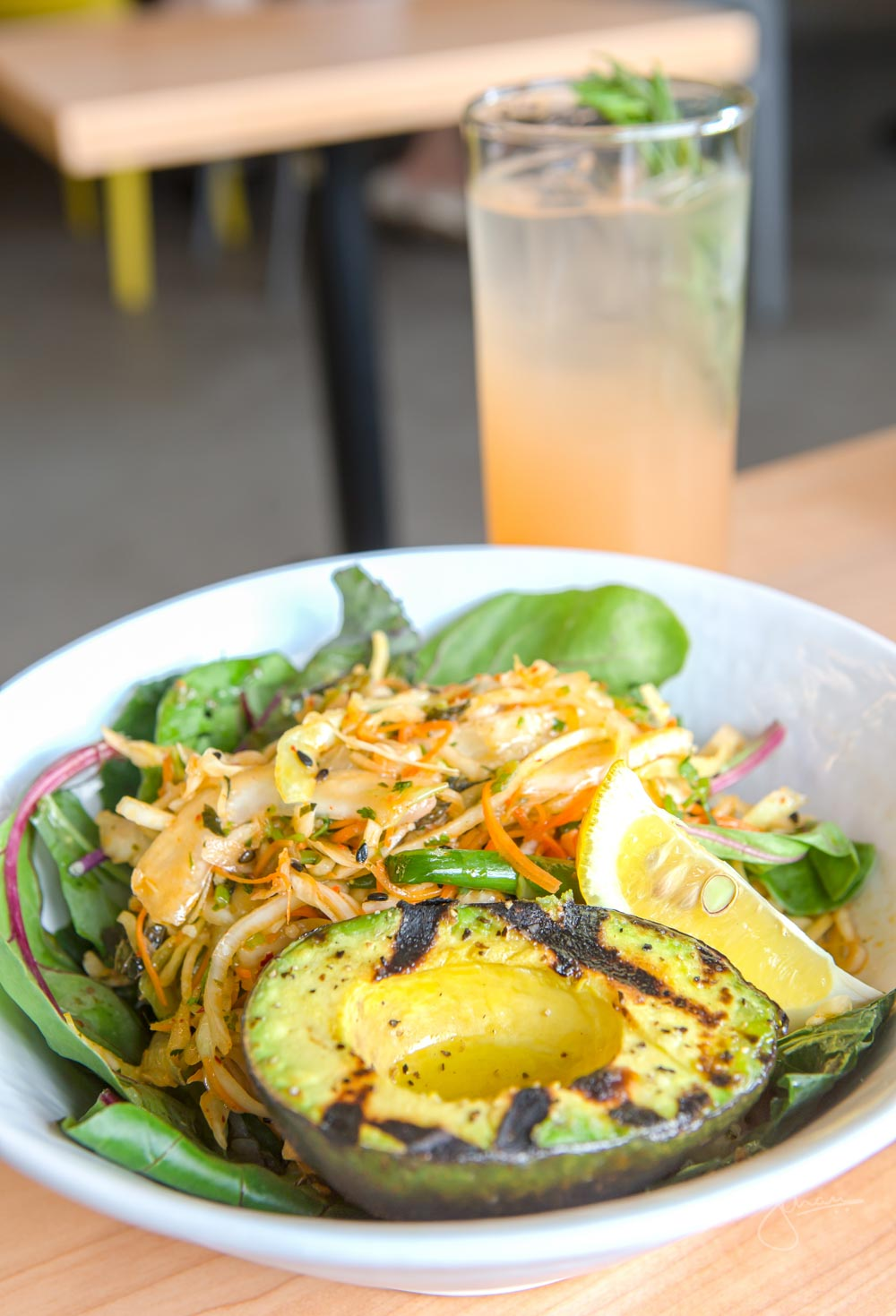 Everyday Bowl: Rice + Power Greens + 1 market side + grilled avo