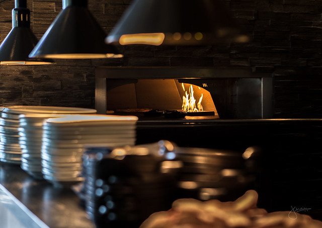 Wood fire oven at Smak Dab, Manteo