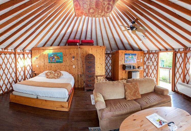 interior of Tatoosh Yurt at Soule Creek Lodge