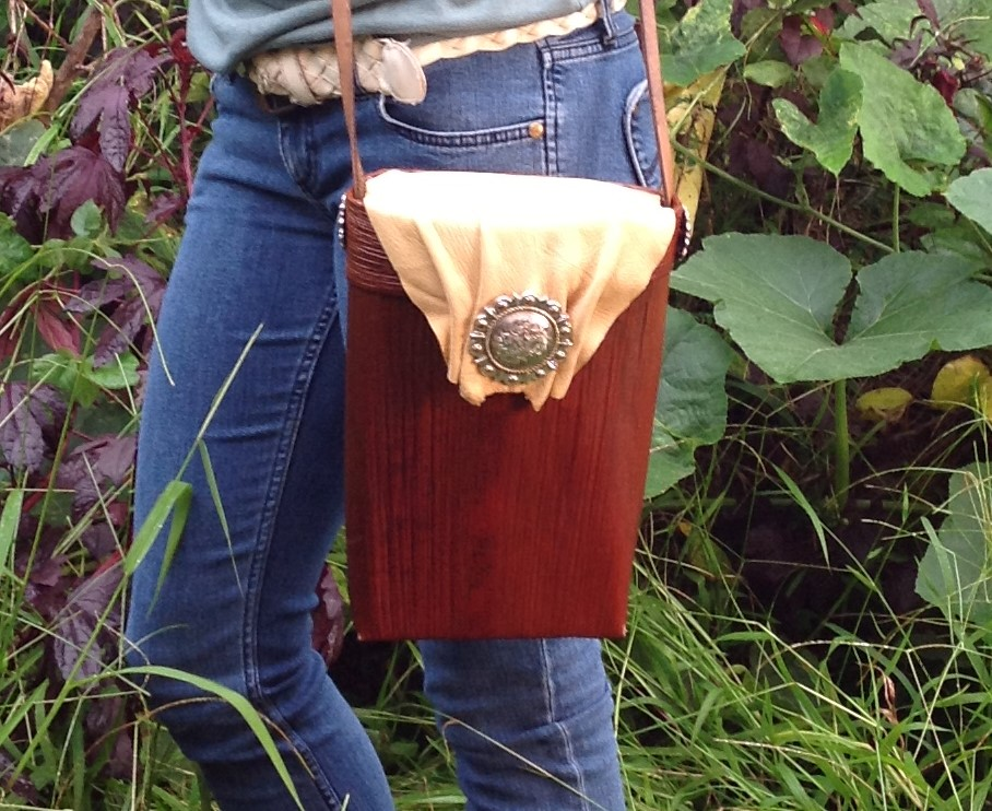 Palm Purse Original Large Alex Palm with Deerskin and Conchos.JPG