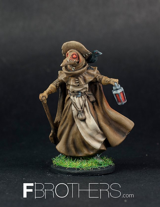 A painted Plague Doctor miniature. The miniature comes in the game unpainted. FBROTHERS.com did an amazing job with this one!