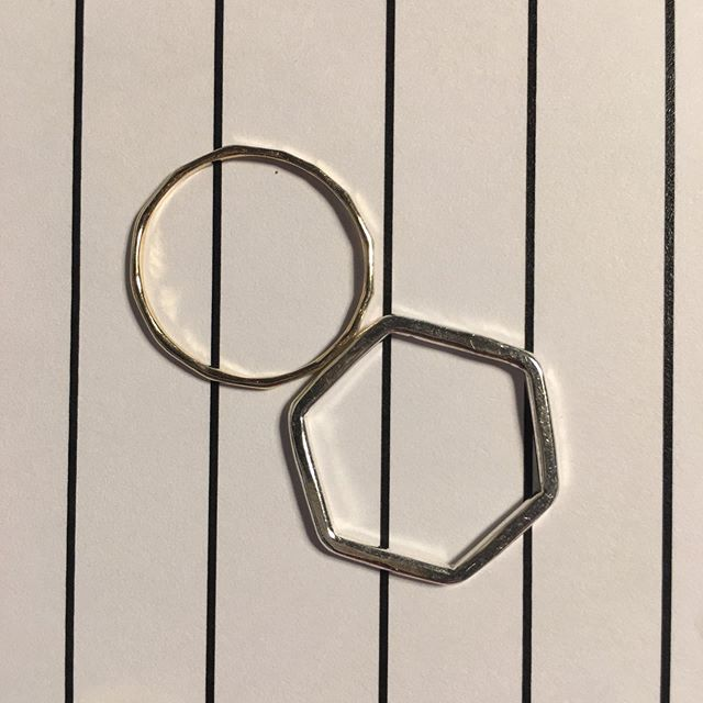Two rings on lines paper.