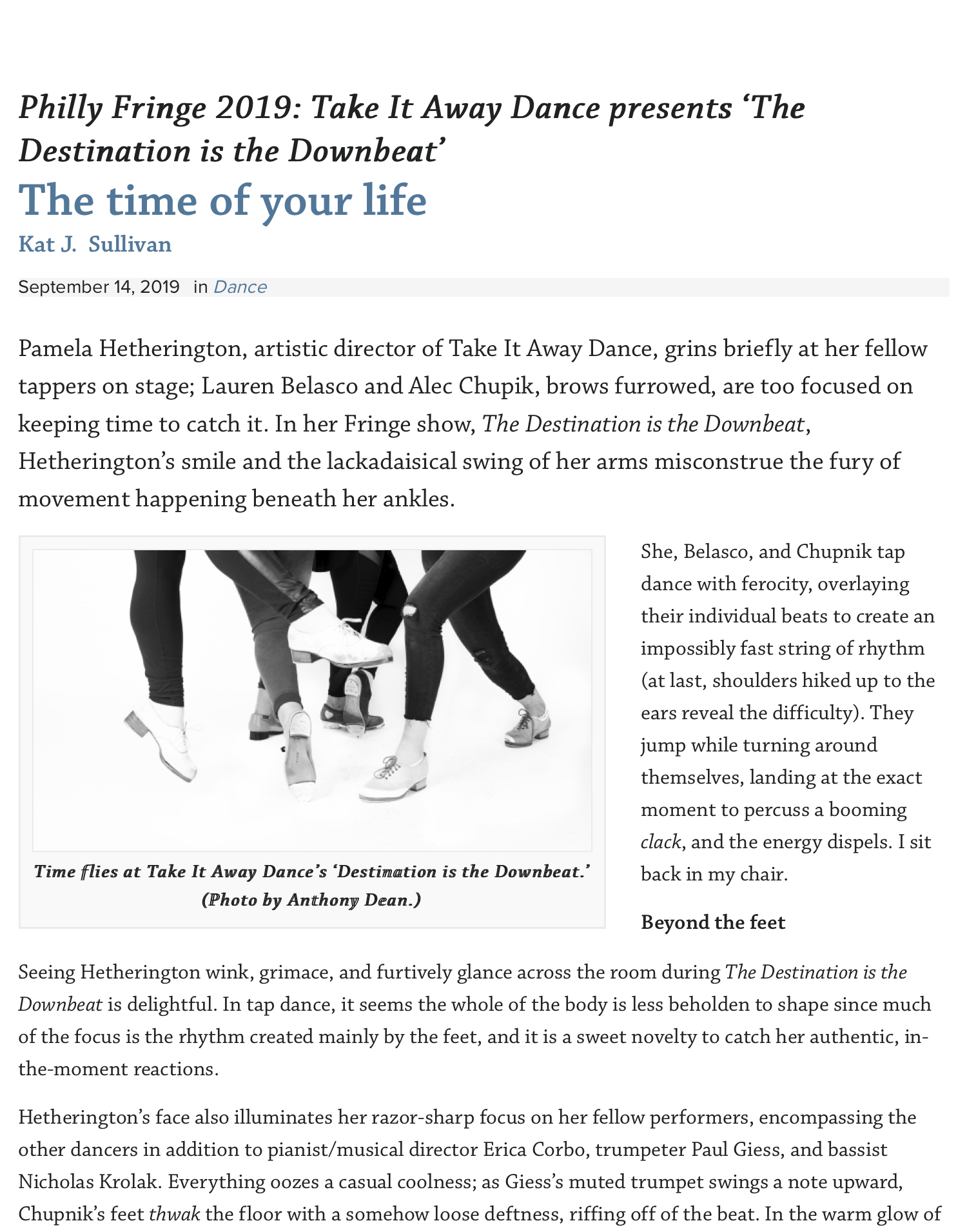 Philly Fringe 2019: Take It Away Dance presents 'The Destination is the Downbeat' | Broad Street Rev.png