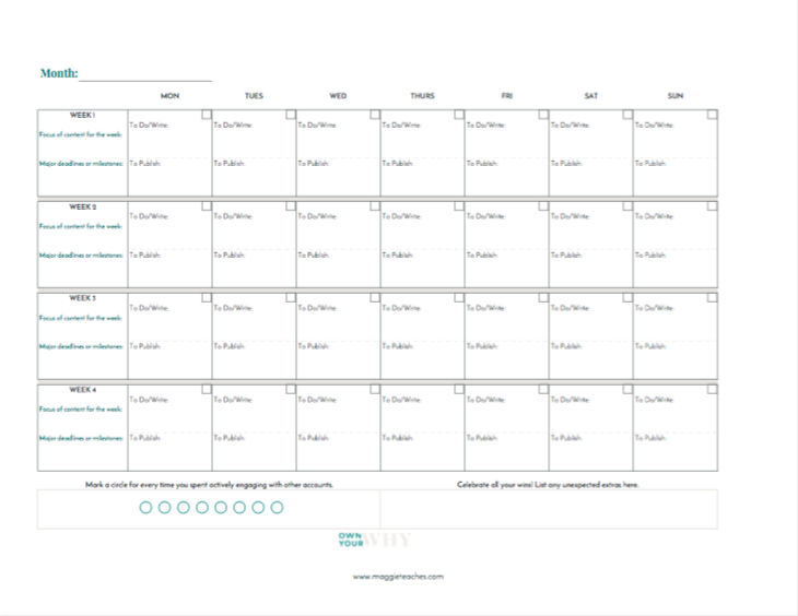 A blank monthly calendar template to help with your small business marketing plan.
