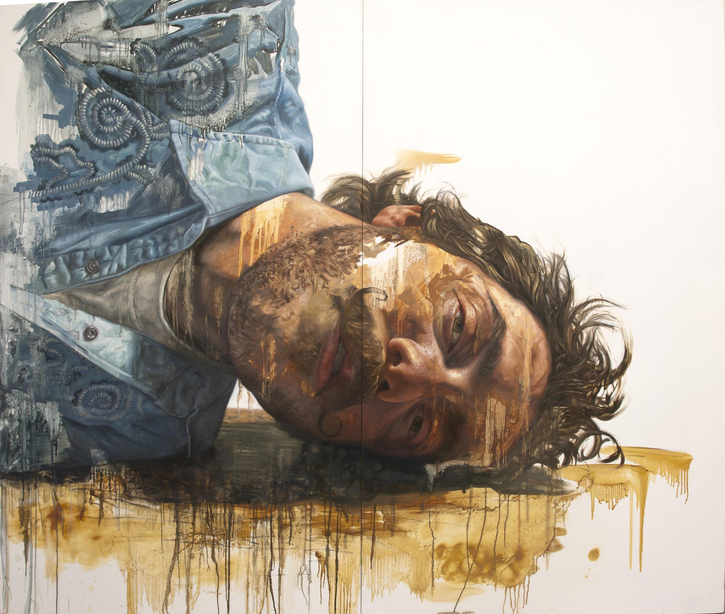 "Self Portrait as Cowboy Fallen  Oil on Panel 48"" x 72"" 2012"