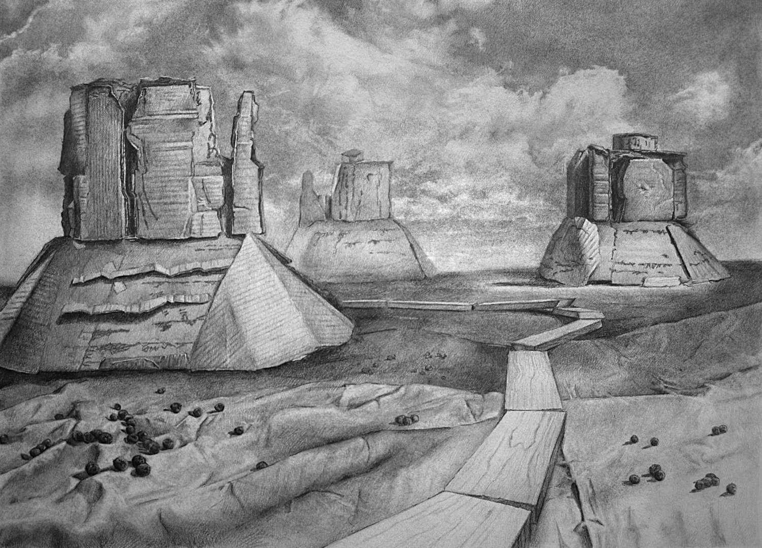 "Monument Valley  Graphite on Paper 12"" x 16"" 2012"
