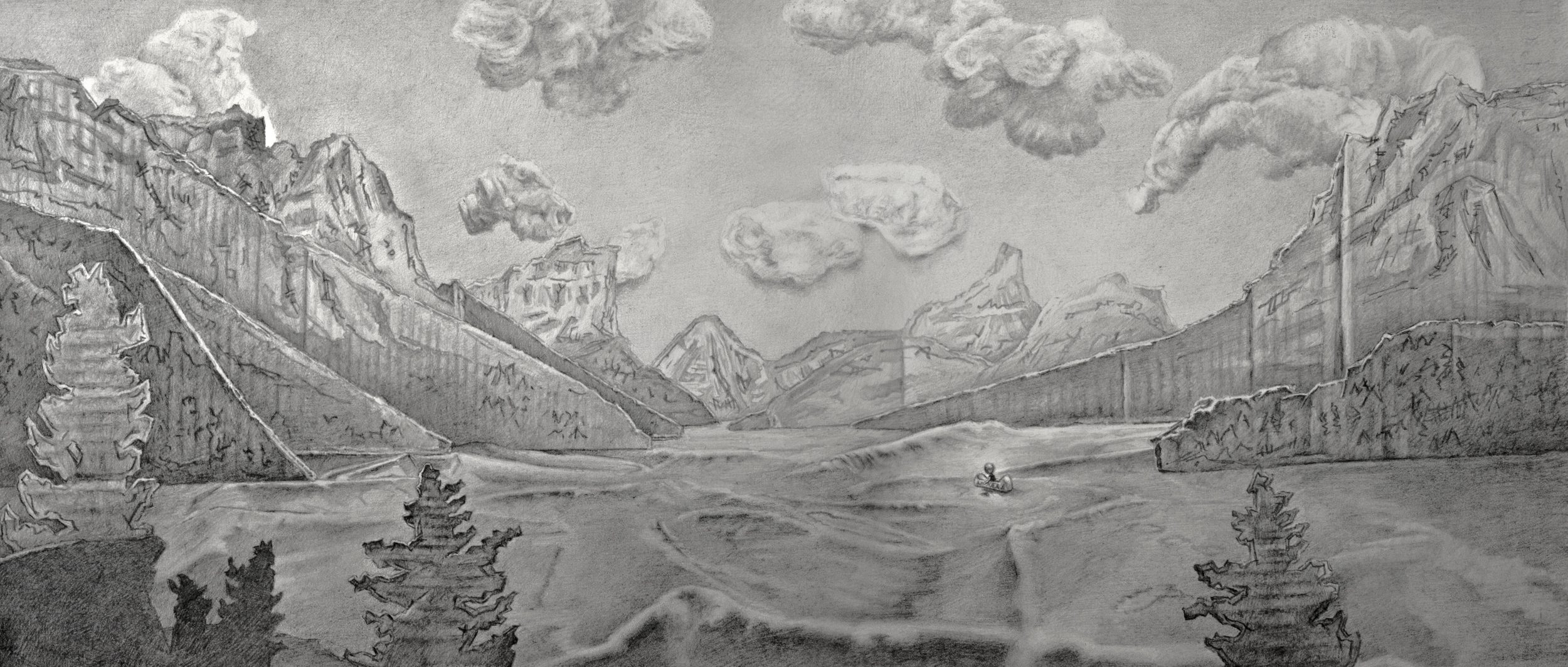 "Glacier Getaway  Graphite on Paper 12"" x 20"" 2013"