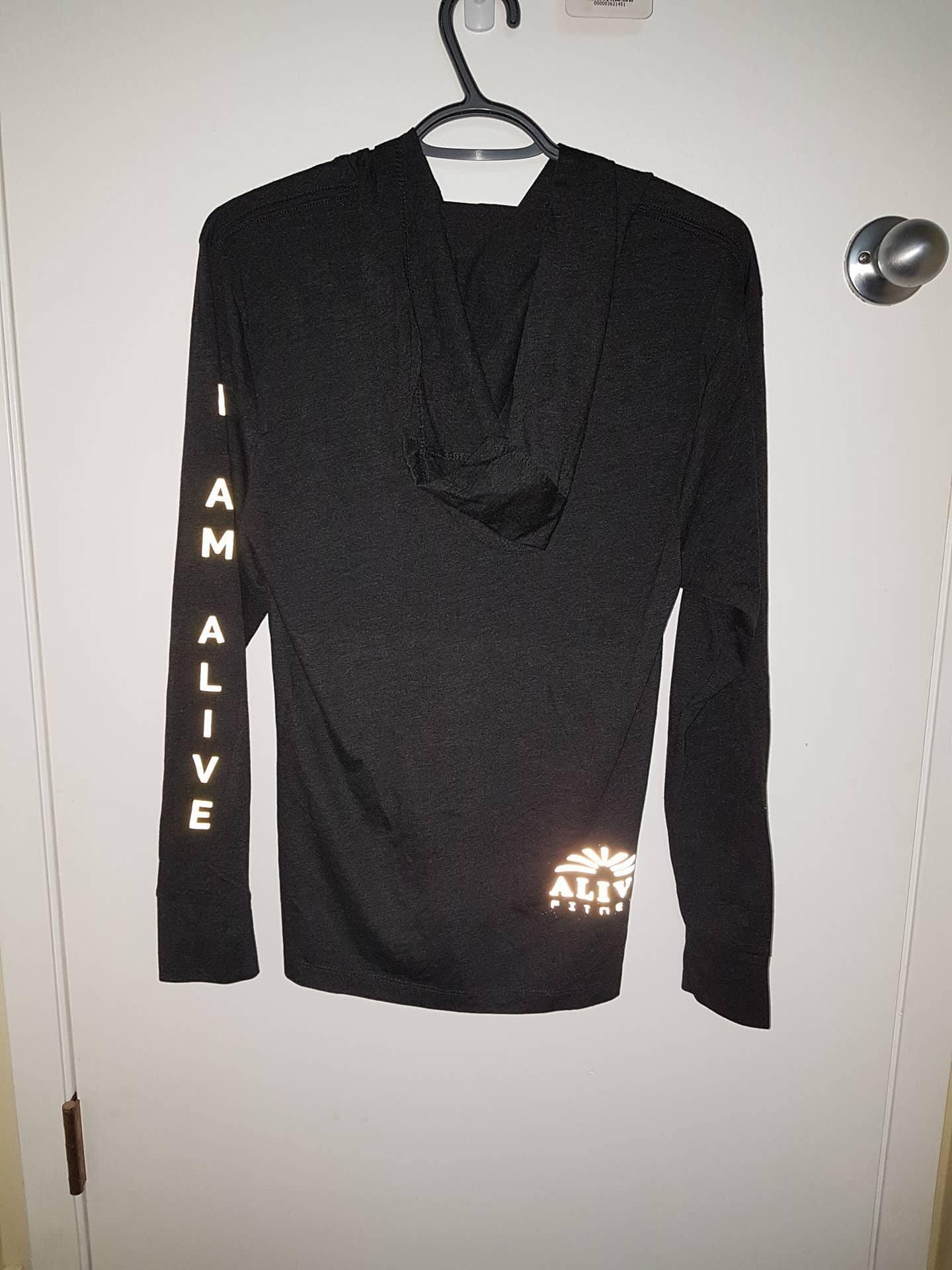 "Back of ""I AM ALIVE"" long sleeve hoody"