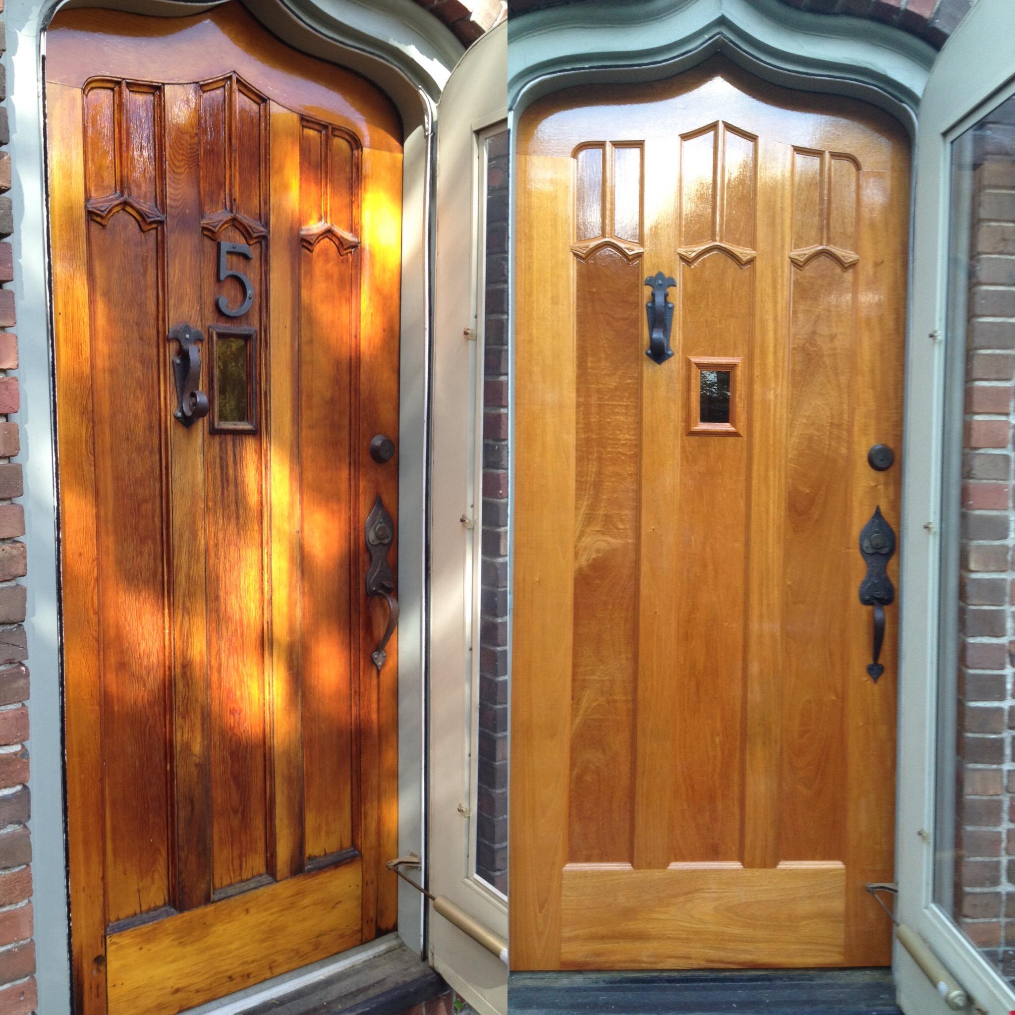 Original door on left with new door on right