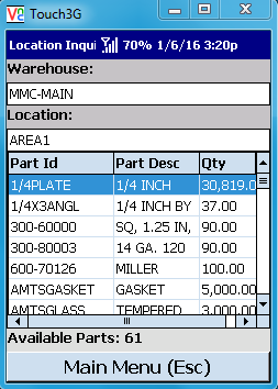 VE Mobile for Infor VISUAL ERP - Location Inquiry Screen with Highlighted Item