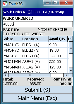 VE Mobile - Mobile and Barcode Solution for Infor VISUAL ERP - Work Order Receipts