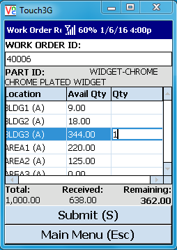 VE Mobile - Barcode Mobile Software for Infor VISUAL ERP - Work Order Receipt