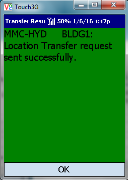 VE Mobile for Infor VISUAL ERP - Location Transfer -  Confirmation Screen