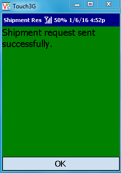 VE Mobile for Infor VISUAL ERP - Shipping - Confirmation Screen