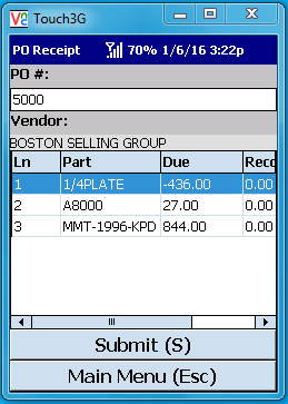 VE Mobile for Infor VISUAL ERP - Barcode and Mobile - PO Receipts - Purchase Order Details Screen