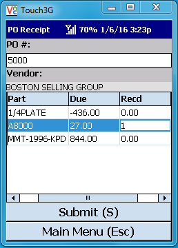 VE Mobile for Infor VISUAL ERP - Barcode and Mobile - PO Receipts - Select Parts and Qty Received Screen