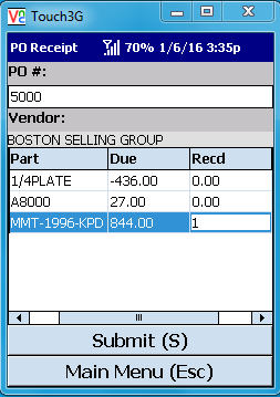 VE Mobile, mobile barcode scanning for Infor VISUAL ERP - Part Traceability - Select the Item and Enter the Quantity