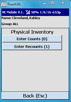 VE Mobile, mobile barcode scanning for Infor VISUAL ERP - Physical Inventory - Select the Inventory Type