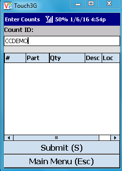 VE Mobile, mobile barcode scanning for Infor VISUAL ERP - Physical Inventory - Select the Count ID