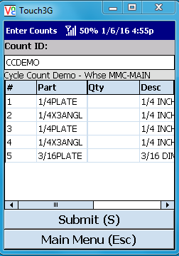 VE Mobile, mobile barcode scanning for Infor VISUAL ERP - Physical Inventory - Count IDs are Displayed