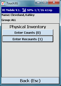 VE Mobile, mobile barcode scanning for Infor VISUAL ERP - Physical Inventory - Entering Recounts