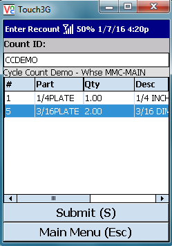VE Mobile, mobile barcode scanning for Infor VISUAL ERP - Physical Inventory - Enter the Quantities During Recount