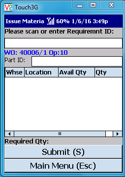 VE Mobile - Issue Materials for Infor VISUAL ERP with barcodes and mobile hardware - Enter the part ID