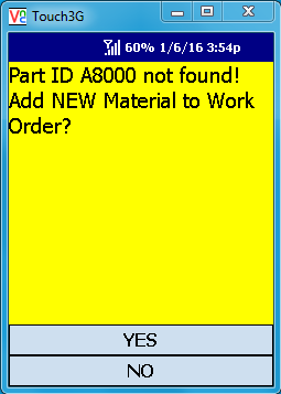 VE Mobile - Issue Materials for Infor VISUAL ERP with barcodes and mobile hardware - Warning when the material is not on the work order