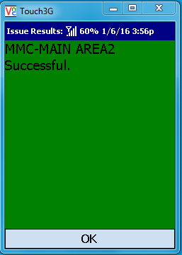VE Mobile - Issue Materials for Infor VISUAL ERP with barcodes and mobile hardware - Confirmation screen