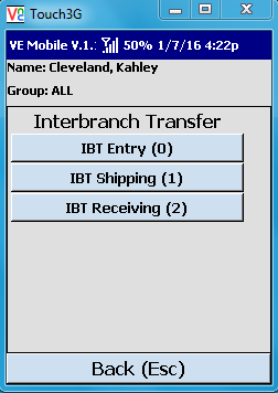 VE Mobile - Interbranch Transfers for Infor VISUAL ERP with barcodes and mobile hardware -  Select the IBT entry type