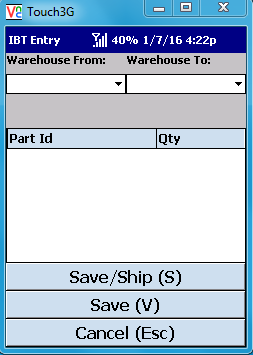 VE Mobile - Interbranch Transfers for Infor VISUAL ERP with barcodes and mobile hardware -  IBT Entry main screen
