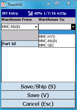 VE Mobile - Interbranch Transfers for Infor VISUAL ERP with barcodes and mobile hardware -  Select the warehouses to ship from and to