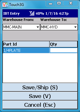 VE Mobile - Interbranch Transfers for Infor VISUAL ERP with barcodes and mobile hardware -  Scan the parts to be transferred