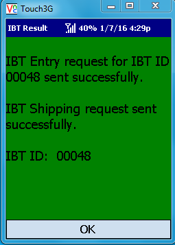 VE Mobile - Interbranch Transfers for Infor VISUAL ERP with barcodes and mobile hardware -  Confirmation Screen