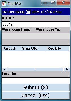 VE Mobile - Interbranch Transfers for Infor VISUAL ERP with barcodes and mobile hardware -  Entering the IBT Transfer ID to receive the shipment