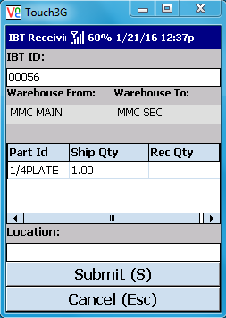 VE Mobile - Interbranch Transfers for Infor VISUAL ERP with barcodes and mobile hardware -   Select the part and then enter quantity