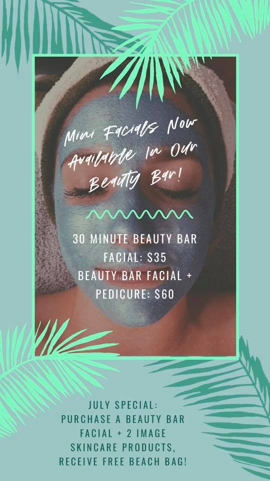 Book your Beauty Bar Facial today!