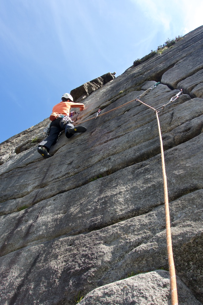 Climbing at Stanage, UK
