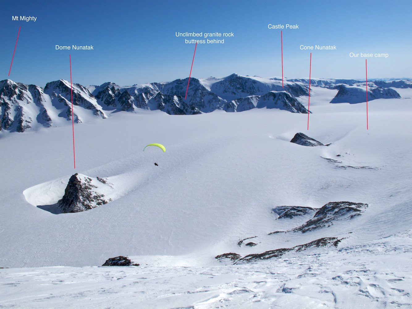 Flying from Kagoo Peak - peaks described (click for larger image)