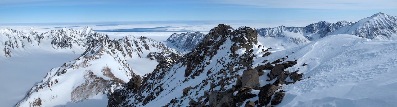 Looking toward the frozen sea from the summit of Mt Mighty