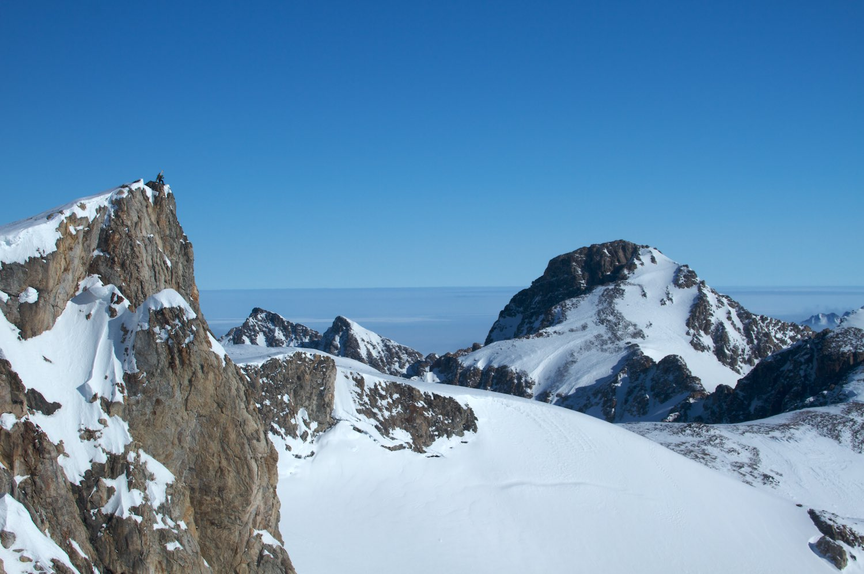 On Diamond Peak during a ski traverse of a few peaks