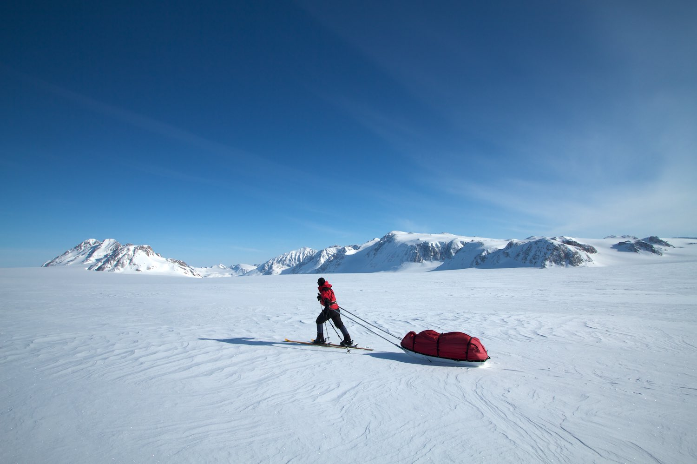 Hauling 90kg pulks from the Klitdal Valley up to a glacier