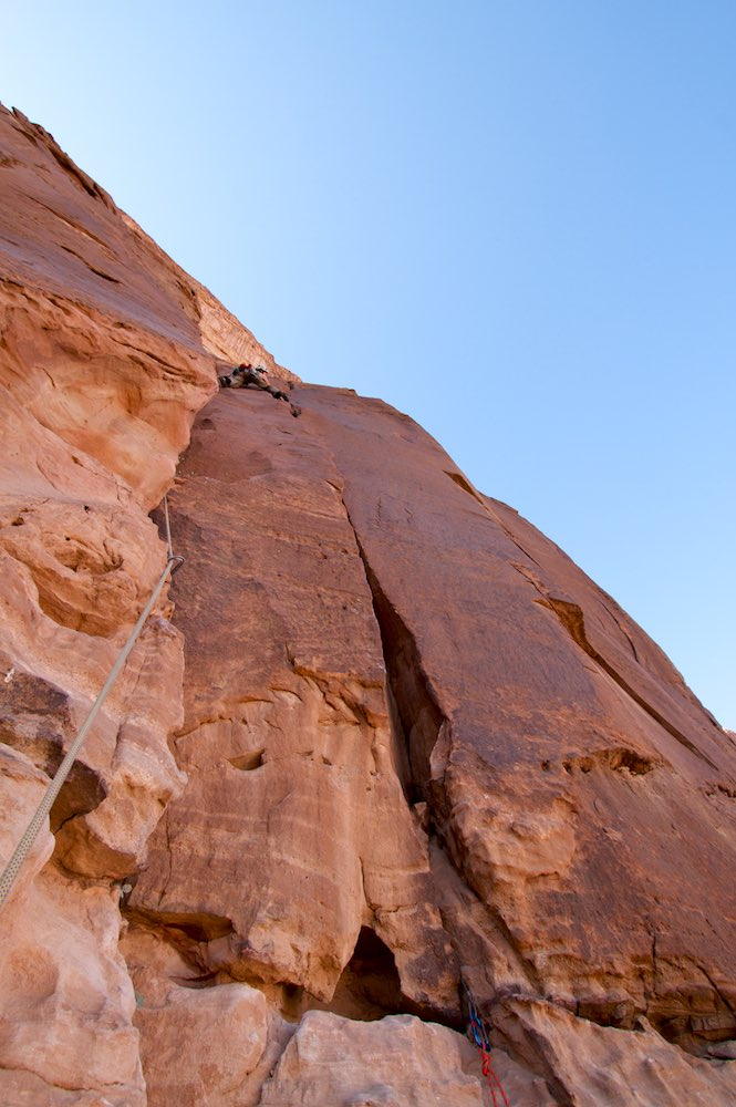 Gem leading a route on Jebel Rum