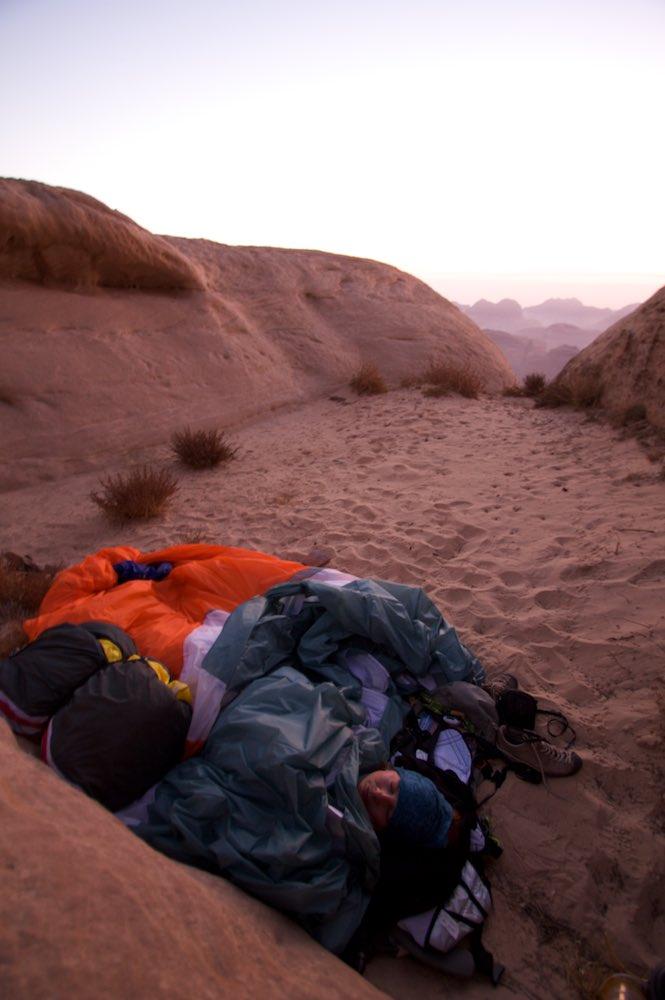 Bivvy spot on top of Jebel Rum