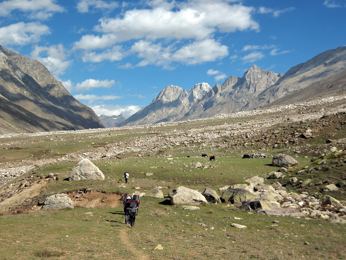Hiking up the Miyar Valley with porters