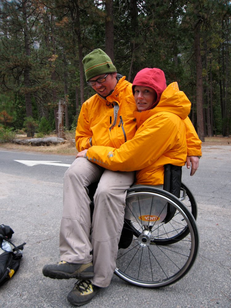 Karen happy to be back in her wheelchair after the descent
